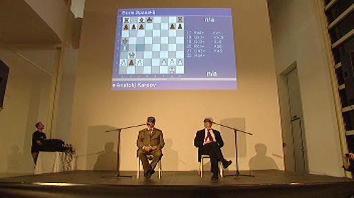 Anatolij Karpov a Boris Spasskij při partii naslepo