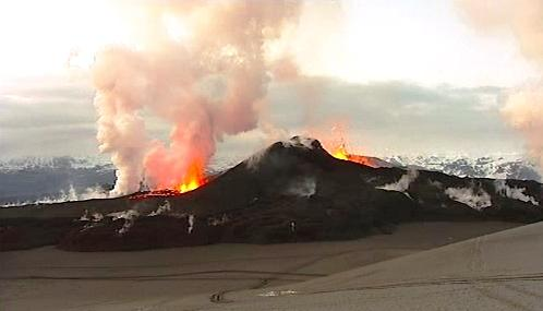 Islandská sopka Fimmvorduhals