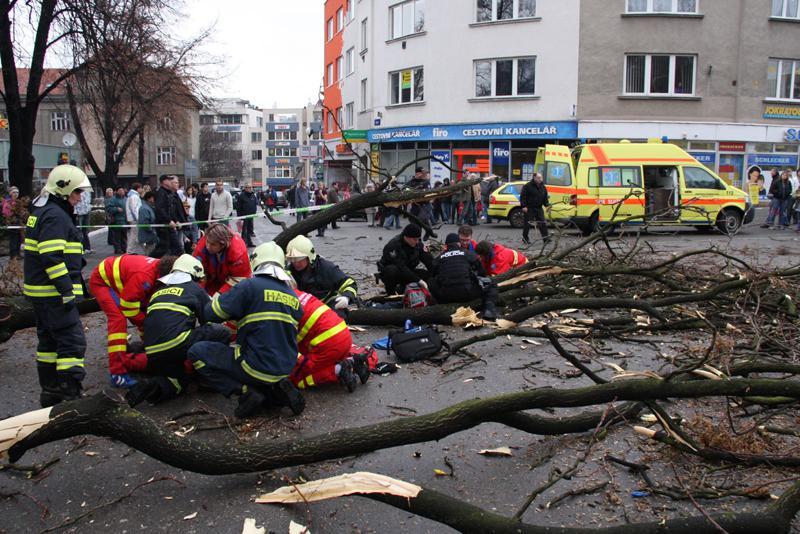 V centru Zlína spadl strom
