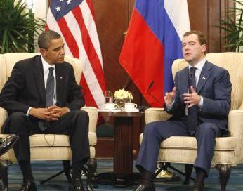 Barack Obama a Dmitrij Medveděv