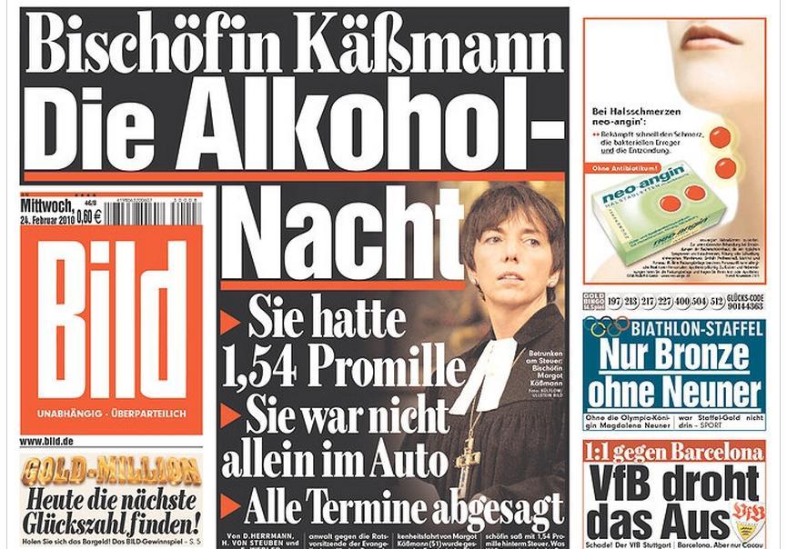 Deník Bild o kauze biskupky Käßmannové
