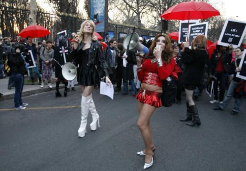 Demonstrace pařížských prostitutek