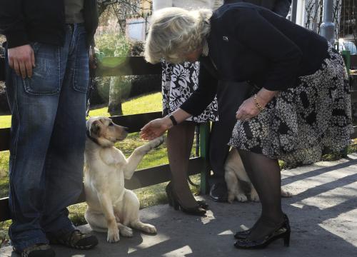 Camilla při návštěvě střediska v pražských Jinonicích