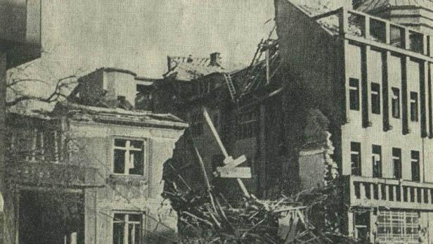 Následky amerického bombardování Kralup v roce 1945