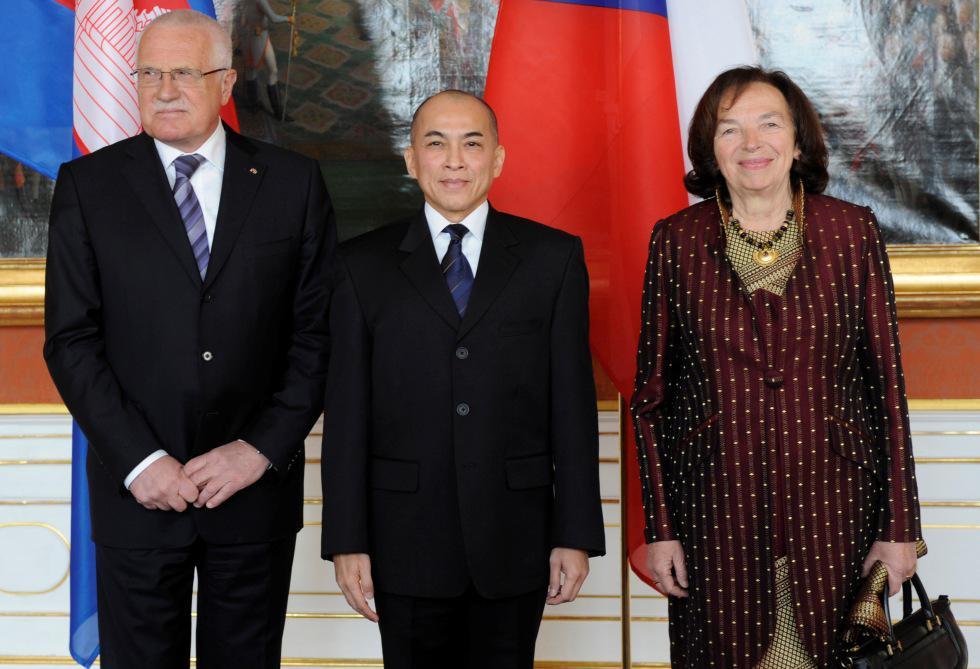 Václav Klaus, Norodom Sihamoni a Livie Klausová