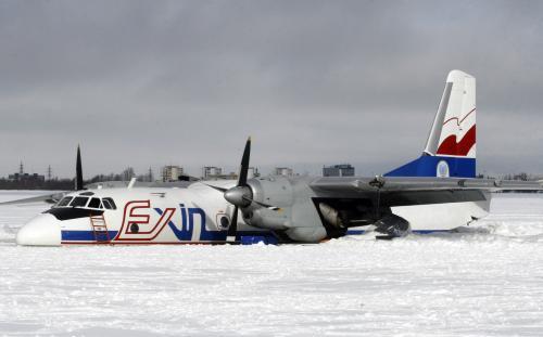 Polský letoun An-26 nouzově přistál na zamrzlém jezeře