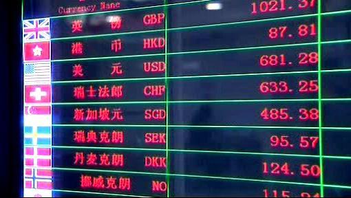 Tabule kurzů k čínské měně