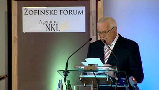 Prezident Václav Klaus na 100. žofínském kongresu