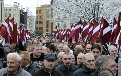 Pochod lotyšských veteránů, kteří sloužili v jednotkách SS