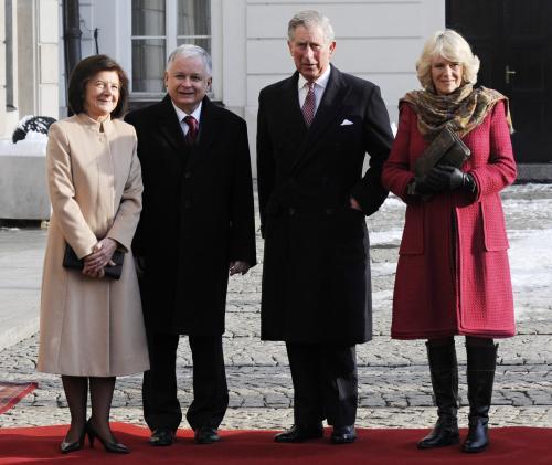 Manželé Kaczyńští a princ Charles s manželkou