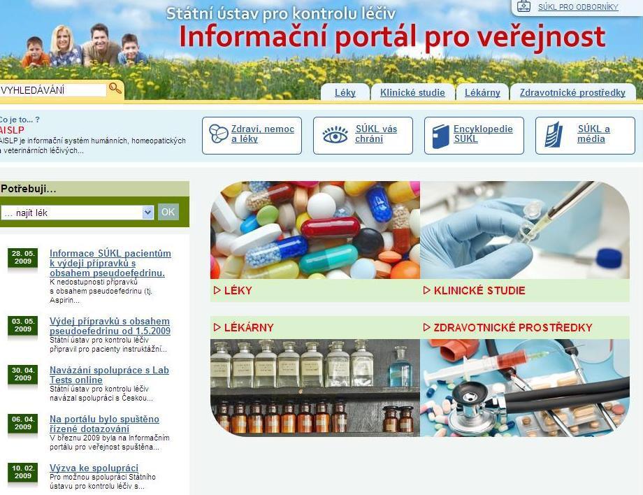 Stránky Státního ústavu pro kontrolu léčiv