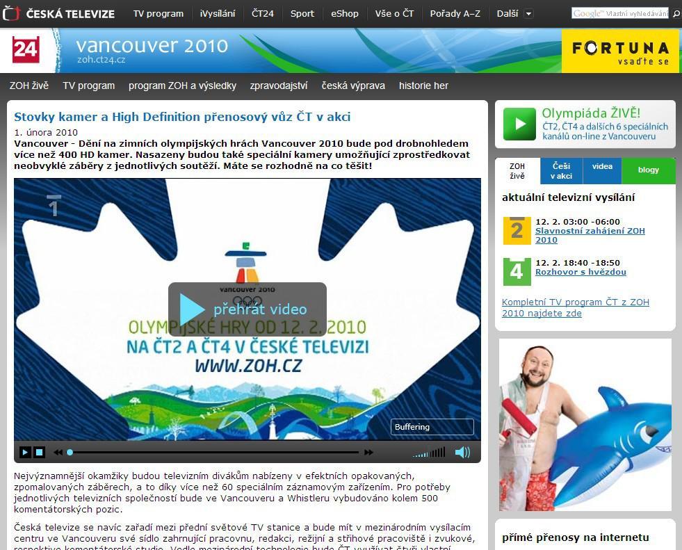 Zimní olympijské hry ve Vancouveru na webu ČT