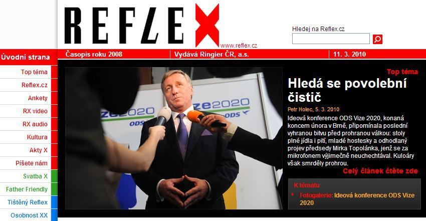 Web časopisu Reflex