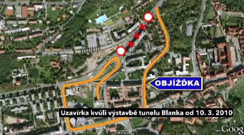 Objížďka uzavřené Patočkovy ulice