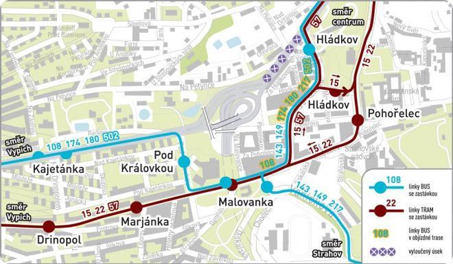 Přerušení provozu autobusů v Patočkově ulici