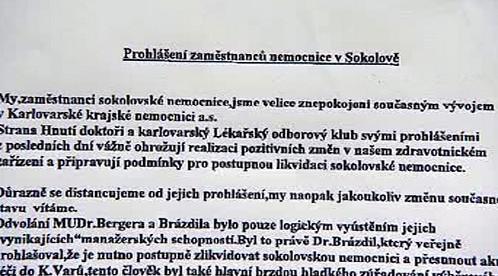 Petice sokolovských zdravotníků