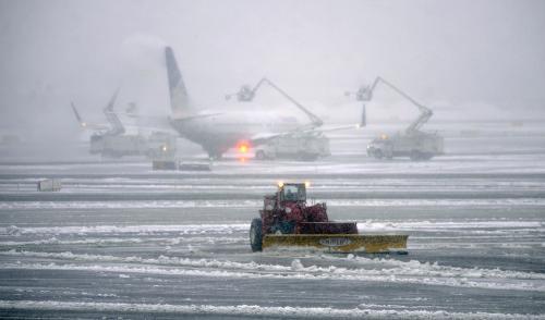 Letiště v Newarku pod sněhem