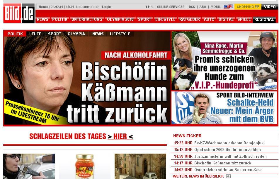 Stránky Bildu o rezignaci biskupky Käßmannové