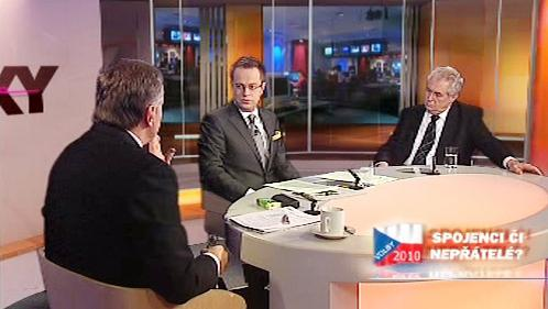 Mirek Topolánek a Miloš Zeman v OVM