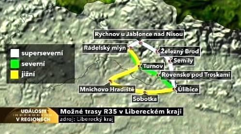 Možné trasy R35 v Libereckém kraji
