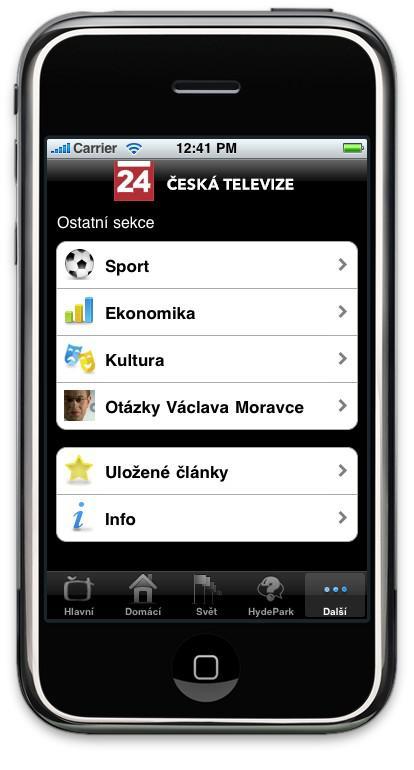 Aplikace webu ČT24 pro iPhone