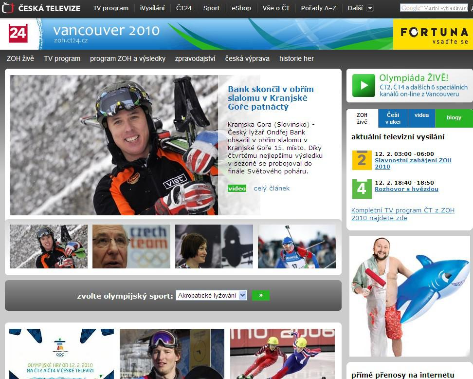 Internetový speciál ČT k olympiádě ve Vancouveru