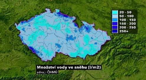 Množství vody zadržované ve sněhu