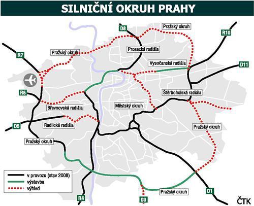Připravovaná výstavba pražských radiál a pražského městského okruhu