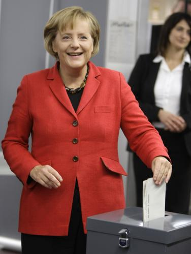 Angela Merkelová u voleb