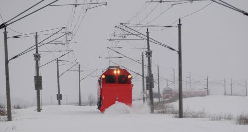 Odklízení sněhu na železnici