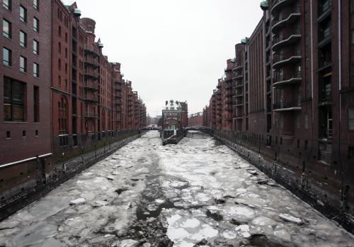 Zamrzlé kanály v Hamburku