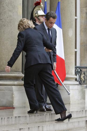 Hillary Clintonová a Nicolas Sarkozy