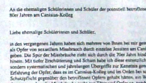 Dopis Klause Mertese bývalým žákům církevního gymnázia