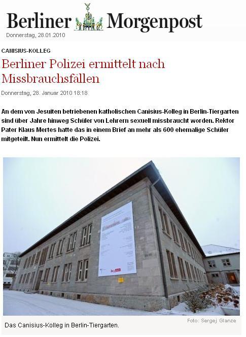 Berliner Morgenpost o zneuživání na Canisius-Kolleg