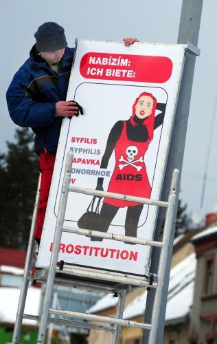Tabule proti prostituci v Chomutově