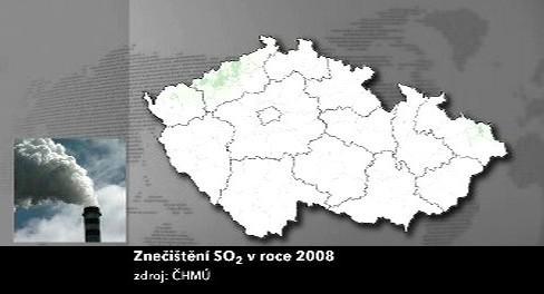 Znečištění oxidem siřičitým v roce 2008
