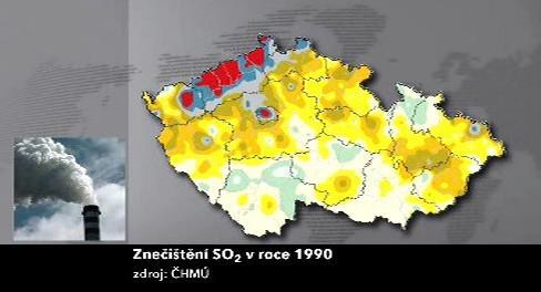 Znečištění oxidem siřičitým v roce 1990