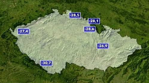 Teploty v noci na 27.01.