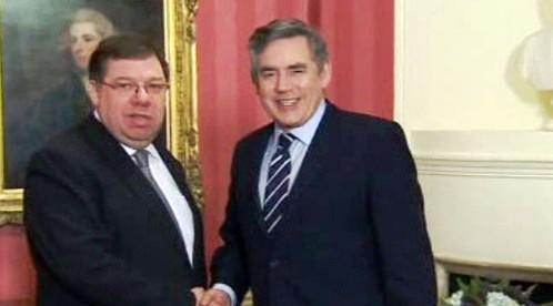 Brian Cowen a Gordon Brown