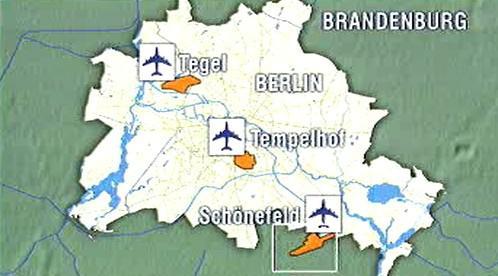 Berlínská letiště – mapka