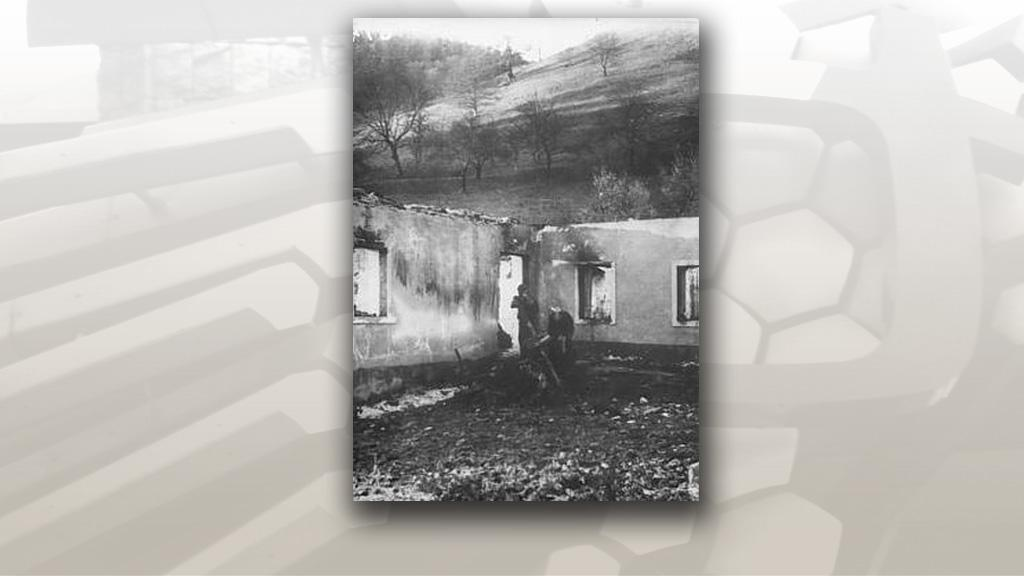 Vypálený dům v Ostrém Grúňi