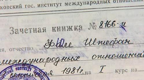 Štefan Füle - záznamy o jeho studiích v Moskvě