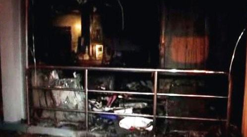 Vyhořelý kostel v Kuala Lumpuru