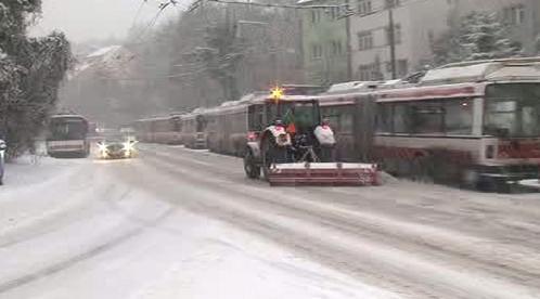 Brněnská MHD má problémy se sněhem