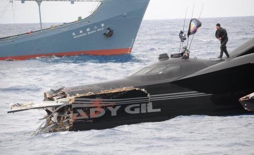 Zničený člun Ady Gil