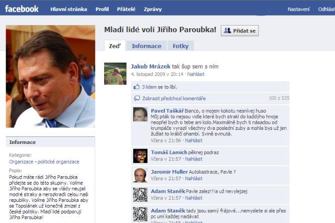 Paroubkova kvaziskupina na Facebooku