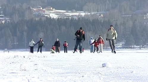 Bruslaři na Lipenském jezeře