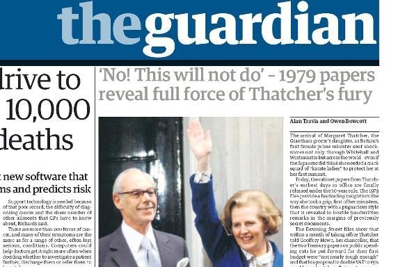 The Guardian o odtajněných dokumentech o Thatcherové