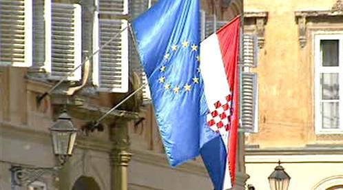 Vlajky EU a Chorvatska