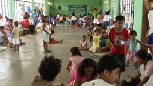 Děti v evakuačním táboře